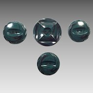 Four Teal Blue and Black Glass Buttons