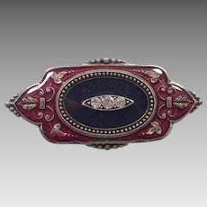 Art Deco Style Burgundy and Black  Enamel Pin With Rhinestones