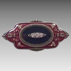 Art Deco Style Burgundy and Black  Enamel Pin With Rhinestones