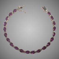 Amethyst and Sterling Line Tennis Bracelet
