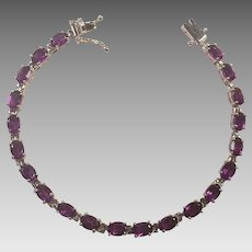 Sterling and Amethyst Tennis Bracelet