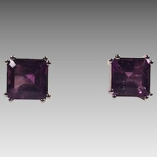 Large Square Cut Amethyst and Sterling Earrings