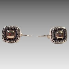 Sterling Silver and 14K Gold Leverback Pierced Earrings