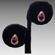 14K Gold Tear Drop Amethyst Pierced Earrings