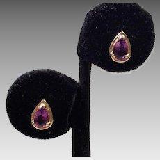 14K Gold Tear Drop Amethyst Pierced Earrings