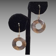 14K Yellow and White Gold Earrings Made In Italy