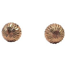 14K Yellow Gold Etched Pierced Ball Earrings