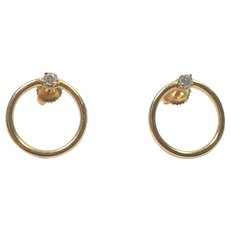 14K Yellow Gold Open Ring Earrings with Diamonds