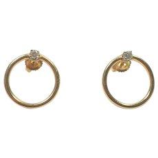14K Yellow Gold Open Circle Earrings with Diamonds