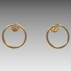 14K Yellow Gold Open Circle Earrings with Diamonds
