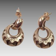 Vintage 14K Door Knocker Earrings Israel