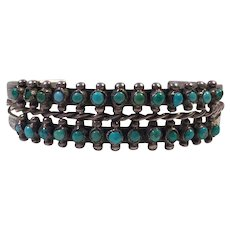 Vintage Zuni Two Row Snake Eyes Turquoise and Silver Cuff Bracelet