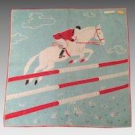 Equestrian Cotton Hankie Never Used Switzerland