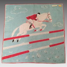 Equestrian Cotton Hankie Never Used Switzerland