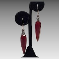 Sterling Carnelian and Blue Topaz Dangle Earrings