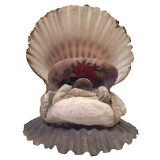 Vintage Folk Art Shell Art Hand Painted Curio