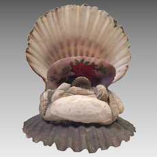 Vintage Folk Art Shell Art Hand Painted Curio