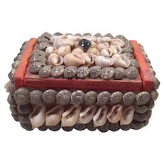 Vintage Folk Art Shell Art Box