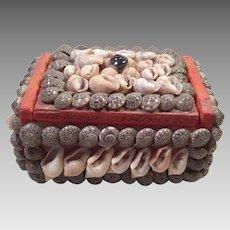 Vintage Folk Art Shell Art Box