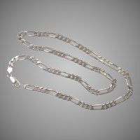 """Heavy Sterling  24"""" Figaro Chain Made In Italy"""