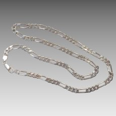 "Heavy Sterling Unisex 24"" Figaro Chain Made In Italy"