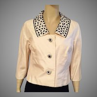1960's Ivory Silk Shantung Jacket With Black Beading By Doreen Loh