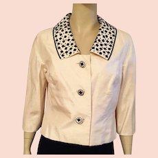 1960's Ivory Silk Shantung Jacket With Black Beading By Doreen Loh