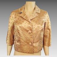 Vintage 1960's Gold Brocade Evening Jacket