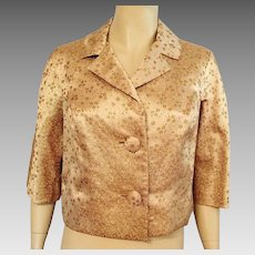 Vintage 1960's Gold Brocade Evening Jacket