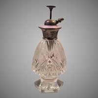 Italian Cut Crystal Guilloche Enamel Perfume Bottle Atomizer