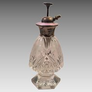 Italian Cut Crystal Guilloche Enamel Perfume Bottle Atomizer