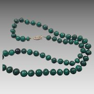 Natural Hand Carved Malachite Graduated Bead Necklace