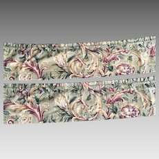 Vintage Pair Of Waverly Pageantry Grandeaur Screen Printed Valances