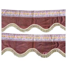 Pair Of Vintage Velvet With Silk Embroidery Valances