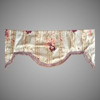 Vintage Floral Window Valance With Fringe