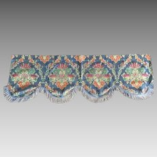 Vintage Silk Embroidered Window Valance with Fringe
