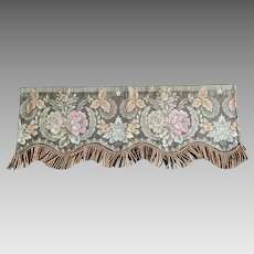 Group Of Five Vintage Silk Embroidered Window Valances With  Fringe