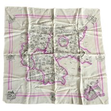 Vintage 1940's WWII German Map Scarf