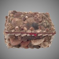 Vintage Folk Art Seashell Covered Box