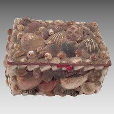 Vintage Folk Art Seashell Covered Box
