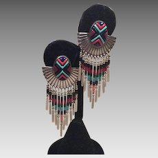 Vintage Sterling Q.T. Quoc Turquoise Zuni Dangle Earrings