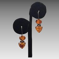 Sterling Amber Pierced Drop Earrings