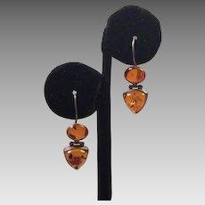 Sterling Amber Pierced Drop Earrings