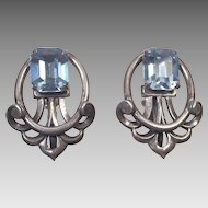 Vintage Napier Silver and Blue Glass Clip Earrings