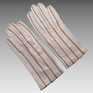 French Beige Leather Gloves By Mantessa