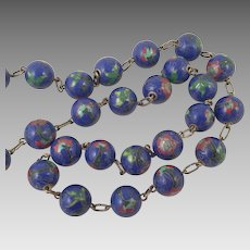 Chinese Cloisonne Beads On Brass Chain Necklace