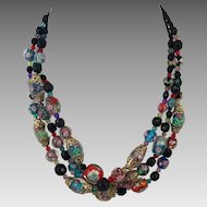 Italian Lampworked Bead Three Strand Necklace