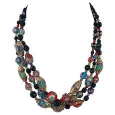 Italian Lampworked Bead Three Strand Necklace