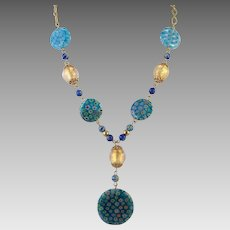 Italian Millefiori Glass Necklace and Earrings