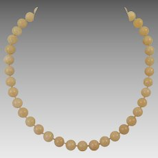 Vintage Chinese Yellow Jade Bead Necklace
